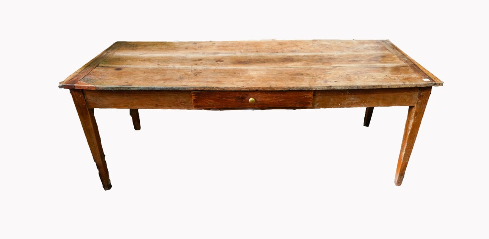 FRENCH 19th CENTURY OAK PLANK TOP FARMHOUSE TABLE, with single drawer on tapered legs, 76 x 75 x