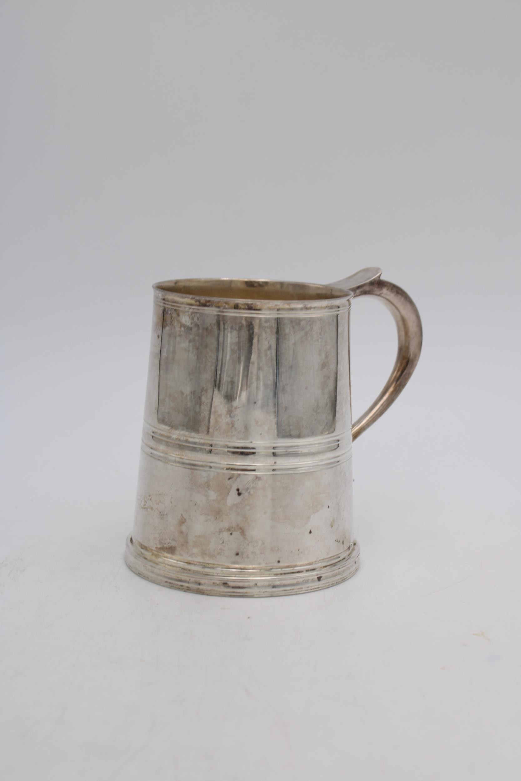 A HEAVY KINGSWAY PLATE E.P.N.S TAPERED TANKARD WITH HANDLE, 11.5cm high - Image 2 of 3