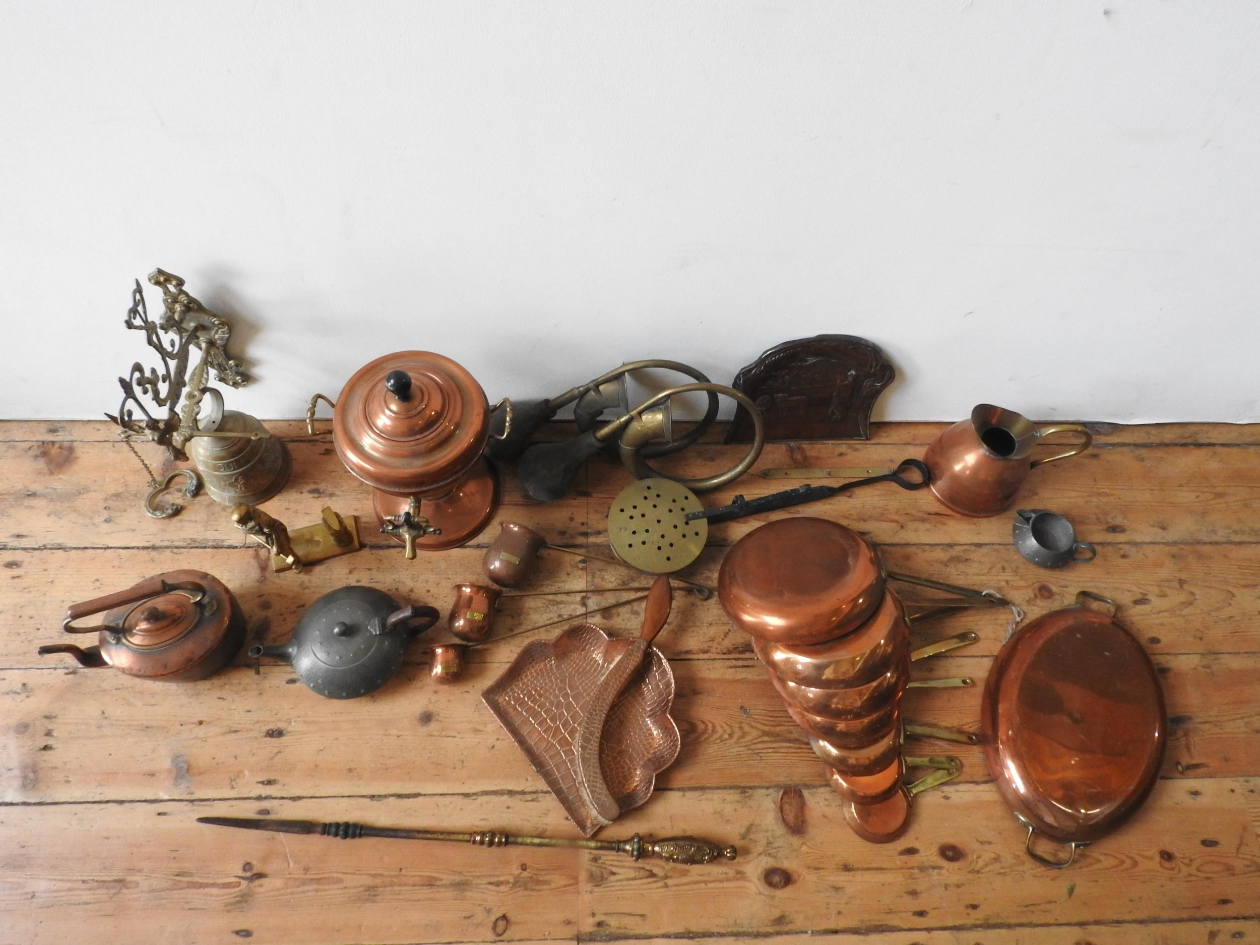 VICTORIAN COPPER KETTLE, SAMOVAR AND BRASS WARE, - Image 2 of 3
