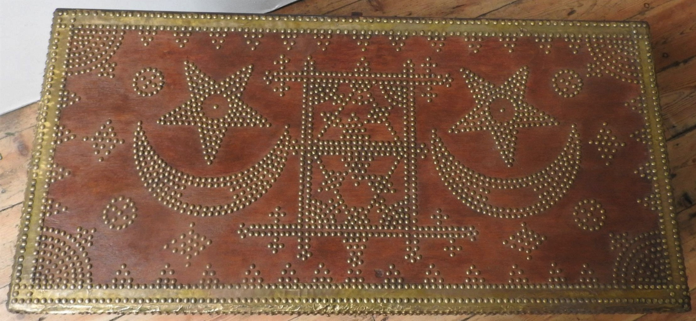 A MIDDLE EASTERN BRASS STUDDED BLANKET CHEST, with moon and star decoration, with two handles 47 x - Image 3 of 3