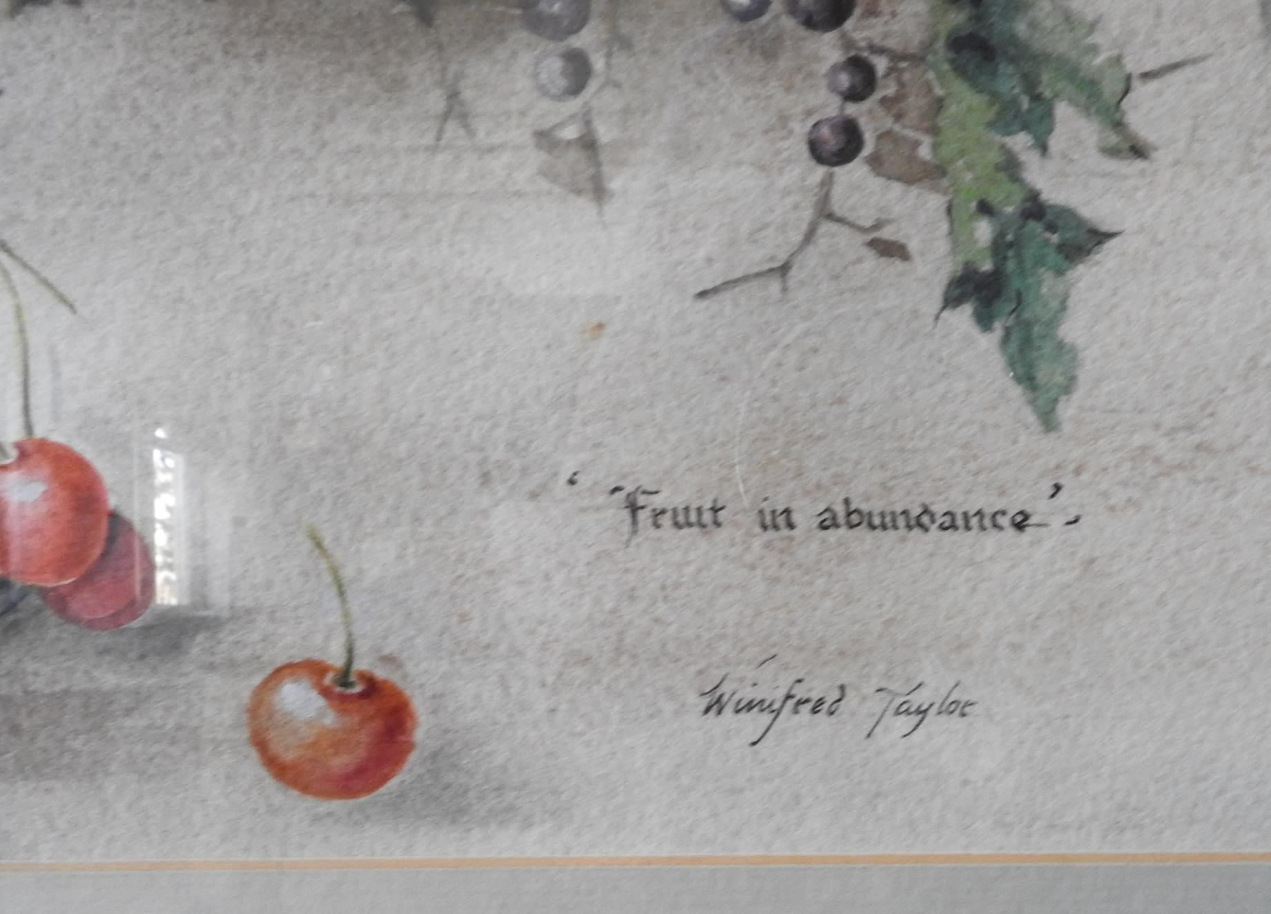 WATERCOLOUR ON PAPER 'FRUIT IN ABUNDANCE', WINIFRED TAYLOR AND LAKE SCENE WATER COLOUR, the Winifred - Image 2 of 3