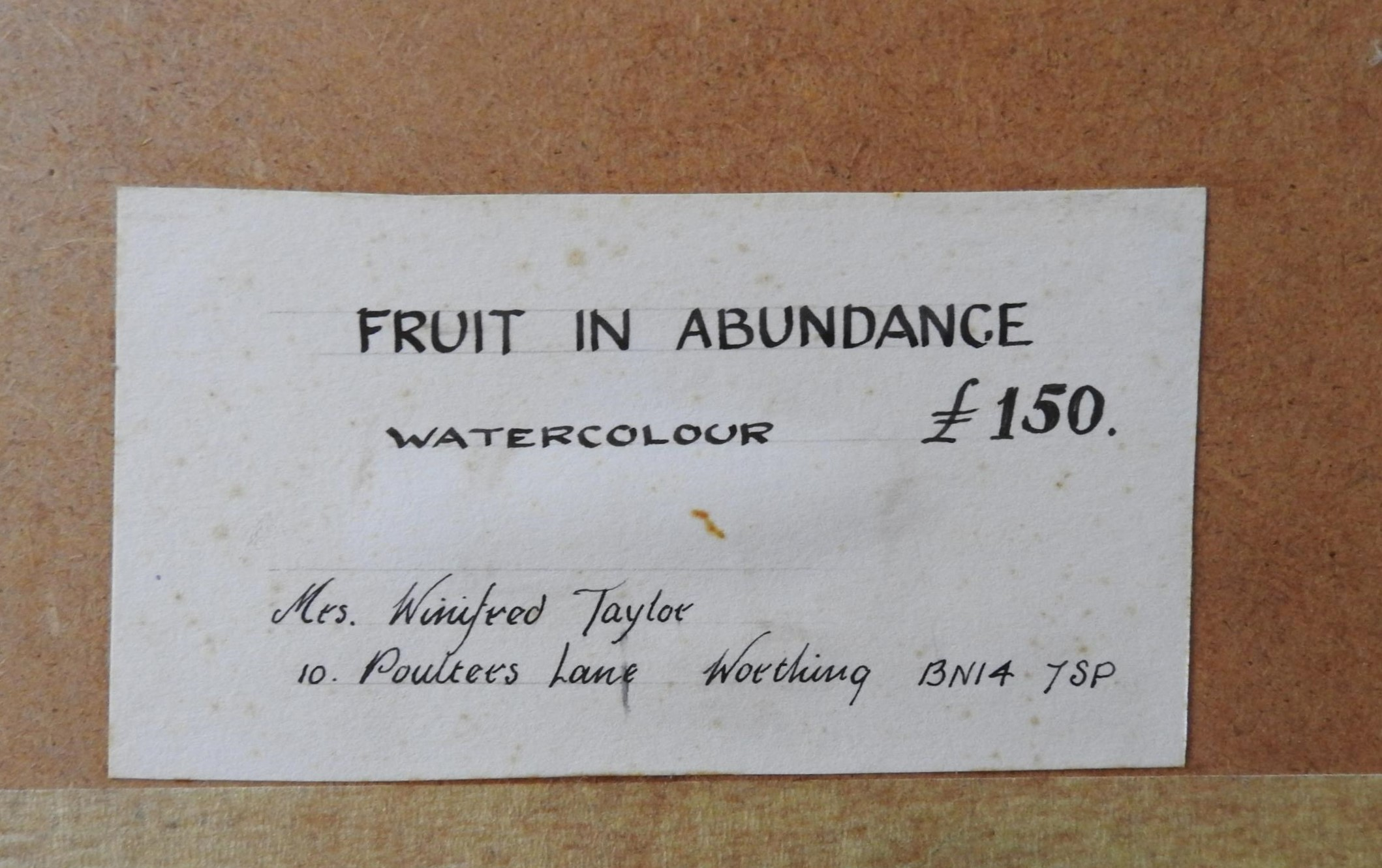 WATERCOLOUR ON PAPER 'FRUIT IN ABUNDANCE', WINIFRED TAYLOR AND LAKE SCENE WATER COLOUR, the Winifred - Image 3 of 3