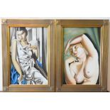 NUDE SCENE OIL ON CANVAS AND OIL ON CANVAS PORTRAIT OF LADY IN CHIFFON DRESS, both 75 x 39 cm and