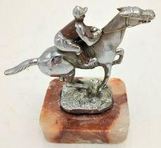 """START"" HORSE WITH JOCKEY HOOD ORNAMENT / CAR MASCOT 13.5cm x 10.5cm"