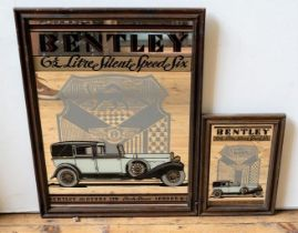 PAIR OF C. 1970S BENTLEY 6.5 LITRE DECORATIVE WALL MIRRORS
