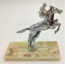 """STEEPLE CHASE"" HORSE WITH JOCKEY HOOD ORNAMENT / CAR MASCOT 11.5cm x 14cm high"