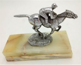 """GALLOPING"" HORSE WITH JOCKEY HOOD ORNAMENT / CAR MASCOT 14cm wide x 9cm high"