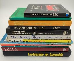 SELECTION OF MOTORING BOOKS FROM THE 1950S ONWARDS, covering MG, Healey and Austin Specials in