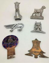 A SELECTION OF CAR MASCOTS AND BADGES: RAA enamel grille badge, Austin mascot, Horse ornament, Rover