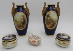 A PAIR OF COBALT BLUE ROYAL WORCESTER VASES, TWO TRINKET POTS AND A PIERCED DISH, the vases