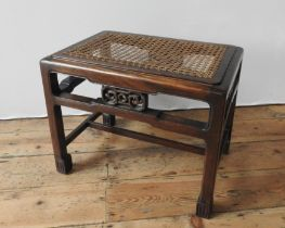 A WHYTOCK & REID MAHOGANY ANGLO-CHINESE STOOL WITH CANE SEAT PANEL