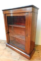A LATE VICTORIAN STRING INLAID ROSEWOOD PIER CABINET, with glazed door and two interior shelves,