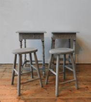 TWO PAINTED STOOLS AND A PAIR OF LAMP TABLES