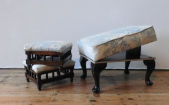 A PAIR OF SQUARE TOP FOOT STOOLS AND AN ADJUSTABLE TILTING FOOT STOOLSTOOL