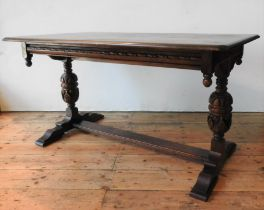 AN OAK 20TH CENTURY JACOBEAN STYLE REFECTORY TABLE, with carved baluster supports, finial corners