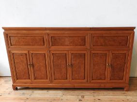 AN ANGLO-CHINESE ROSEWOOD SIDEBOARD, with two lift-top sections, six panelled doors and cupboard