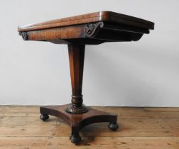 A VICTORIAN MAHOGANY FOLDING CARD TABLE, ,the folding baize lined top sitting atop a tapered