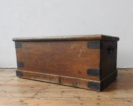A VICTORIAN METAL BOUND PINE BLANKET BOX AND A STAINED PINE BLANKET BOX