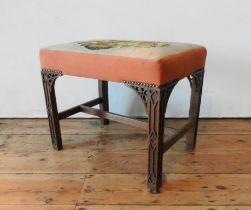 A 19TH CENTURY MAHOGANY FRAMED TAPESTRY TOP STOOL, the tapestry depiciting a floral arrangement, the