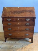 LATE GEORGE III MAHOGANY CROSSBANDED BUREAU, CIRCA 1810 FULL FRONT FITTED INTERIOR, FOUR LONG