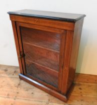 A LATE 19TH CENTURY STRING INLAID ROSEWOOD GLAZED PIER CABINET, with two interior shelves, 110 x 86