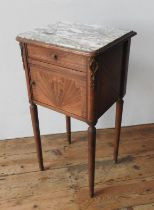 A 19TH CENTURY CROSS BANDED MARQUETRY INLAID MARBLE TOP POT CUPBOARD, with swag decoration to door