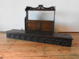 A MAHOGANY 2-TIER MEDICINE CUPBOARD AND A LONG OAK STORAGE BOX, the oak storage box with Chinese