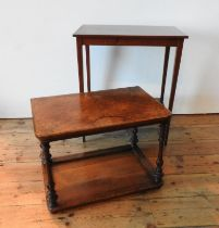 A 19TH CENTURY MAHOGANY INLAID 2-TIER OCCASIONAL TABLE AND A MARQUETRY INLAID WALNUT 2-TIER TABLE,