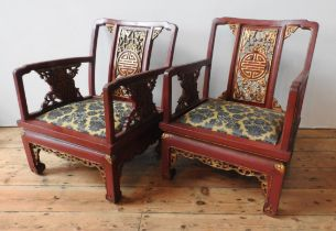 A SET OF SIX CHINESE ARMCHAIRS