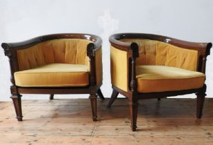 A PAIR OF ANGLO-CHINESE ROSEWOOD BERGERES, with gold coloured button back upholstery and removable