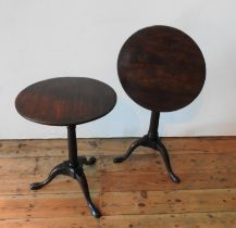 TWO 19TH CENTURY TILT-TOP TRIPOD TABLES, one in mahogany and one with a mahogany top on a stained
