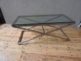 GLASS TOP CHROME BASE COFFEE TABLE (45cm high, 52cm wide, 113cm long)