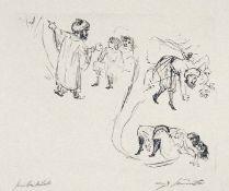 Skizzen zu einem orientalischen Märchen II. Lithographie. 1913. Ca. 24 x 30 cm (41,3 x 54,8 cm).