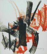 Peter Brüning Düsseldorf 1929 - 1970 Ratingen Ohne Titel. Farb. Lithographie. 1956. 56,5 x 49,4 cm.