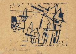 Lyonel Feininger New York 1871 - 1956 New York Männer, Häuser, Laterne und Schiebekarren (