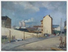 Richard Gessner Augsburg 1894 - 1989 Düsseldorf Vorstadt Duisburg. Öl auf Leinwand. 1934. 61 x 80