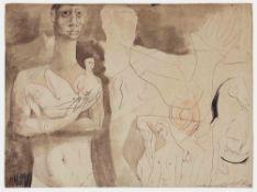 Ernst Fuchs Wien 1930 - 2015 Wien Ohne Titel. Braune, teils lavierte Tusche. 1947. 30,5 x 41 cm.