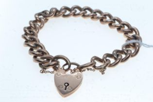 9ct rose gold bracelet with heart-shaped padlock clasp, 16.97 grams