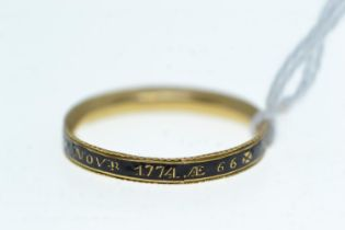 George III enamel memorial band ring, inscribed 'Thos Sargent DI 27 NOVR 1774Æ 66', size X