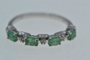 10ct white gold, emerald & diamond half hoop ring, size N1/2, 2.12 grams