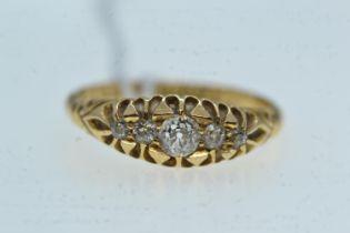 18ct gold & five diamond ring, size M1/2, 2.87 grams
