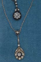Platinum & white stone pendant necklace, chain circumference 430mm, 3.05 grams, together with a silv