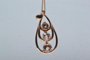 9ct rose gold & morganite pendant & chain, pendant length including bale 29mm, chain circumference 4