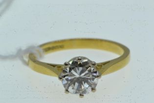 18ct gold & approx. 1.00 carat solitaire diamond ring, size K1/2, 2.66 grams