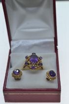 9ct gold & amethyst ring & earrings set, ring size P, gross weight 7.55 grams
