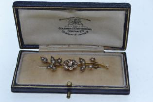 Yellow metal & seed pearl brooch, tests positive for 9ct gold, later steel pin, gross weight 2.83 gr