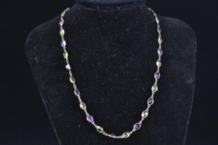 9ct gold, amethyst & peridot spectacle-set necklace, circumference 450mm, 7.17 grams
