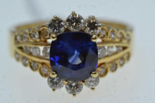 18ct gold, sapphire & diamond cluster ring, size N1/2, 5.42 grams
