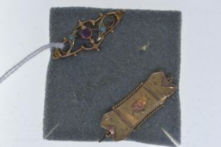 Two 9ct gold brooches, one set with an amethyst & turquoise, the other with non gold pin, 35mm & 33m