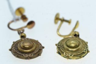 Pair of 15ct gold pendant earrings, screw clip fittings, length 35mm, gross weight 3.58 grams